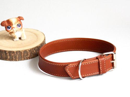 collier chien cuir doublé marron gold maroquinerie artisanale fabrication française Atelier Antiope ©