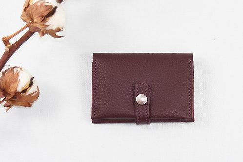 porte-cartes porte-monnaie bordeau mauve violet cuir maroquinerie artisanale fabrication française Atelier Antiope©