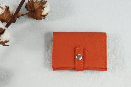 porte-cartes porte-monnaie orange cuir maroquinerie artisanale fabrication française Atelier Antiope©