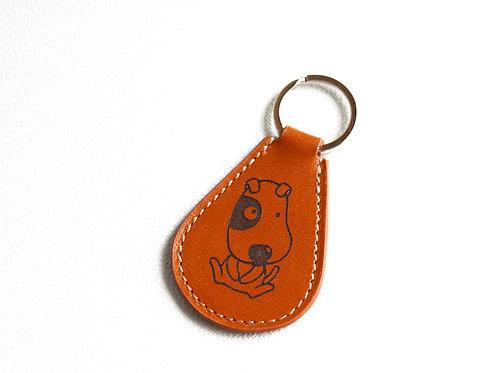 porte-clés chien rigolo marron cuir maroquinerie artisanale fabrication française Atelier Antiope©