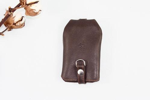 rangement clés porte-clés marron foncé cuir maroquinerie artisanale Atelier Antiope© française