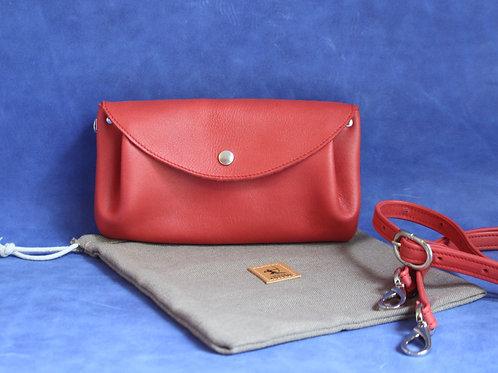 petit sac d'été cuir maroquinerie artisanale fabrication française fuchsia rose Atelier Antiope©
