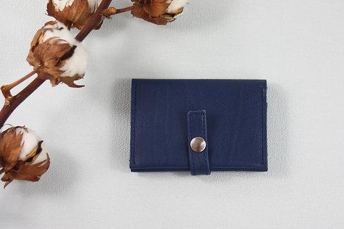 porte-cartes porte-monnaie bleu cuir maroquinerie artisanale fabrication française Atelier Antiope©