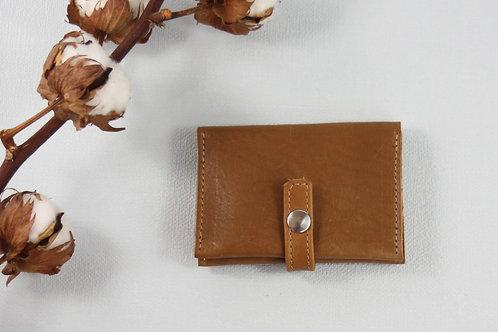 porte-cartes porte-monnaie gold marron cuir maroquinerie artisanale fabrication française Atelier Antiope©