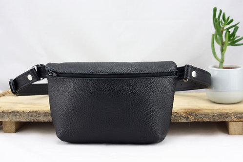 pochette banane noir cuir maroquinerie artisanale fabrication française Atelier Antiope©