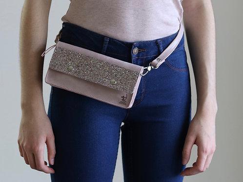 pochette rose paillette soirée ceinture bandoulière cuir maroquinerie artisanale fabrication française Atelier Antiope©