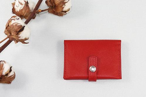 porte-cartes porte-monnaie rouge cuir maroquinerie artisanale fabrication française Atelier Antiope©