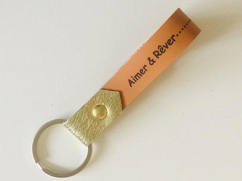 porte-clés message à faire passer or argent bronze cuir maroquinerie artisanale fabrication française Atelier Antiope©