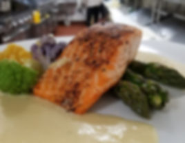 Grilled Salmon Dinner wit Asparagus, Spring Vegetables and a Citrus Cream Sauce