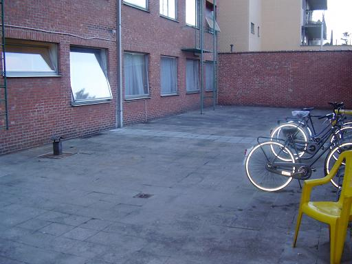 Courtyard with safe bycicle storage.