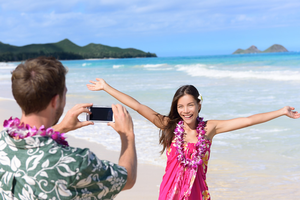 Taking photos with cell phone while on vacation