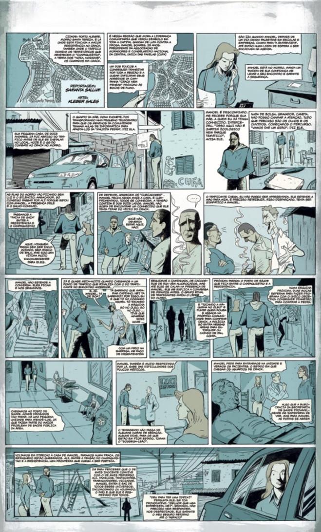 Matéria em quadrinhos do jornal 'Correio Braziliense' sobre o consumo de crack