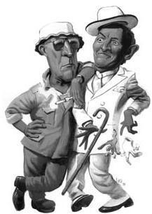 Caricatura de Hunter Thompson (à esquerda) e Tom Wolfe: reflexo da diferença de gêneros dentro do Novo Jornalismo