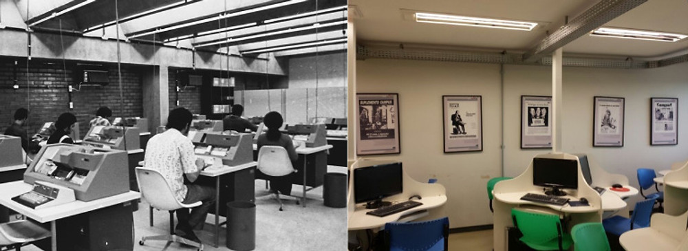 Laboratório do Campus na década de 1970 e hoje
