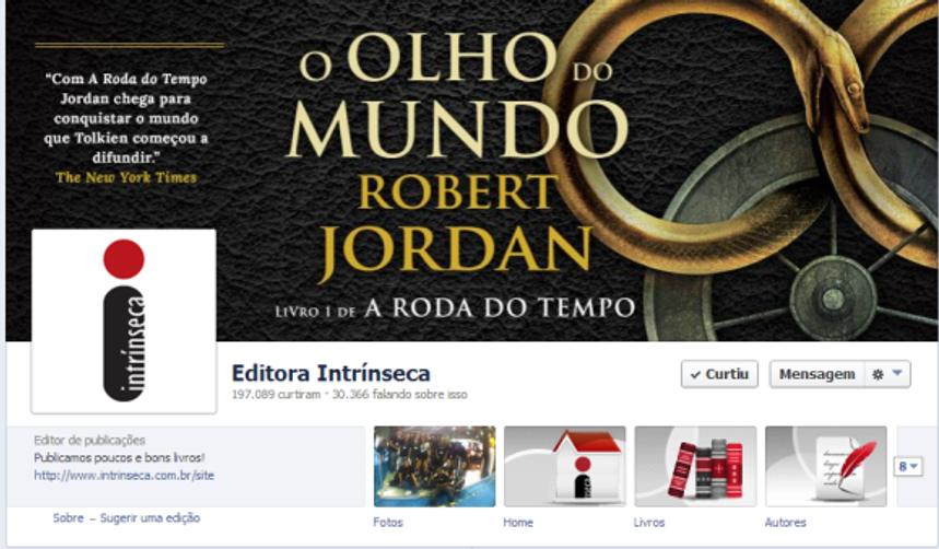 Página da Editora Intrínseca no Facebook