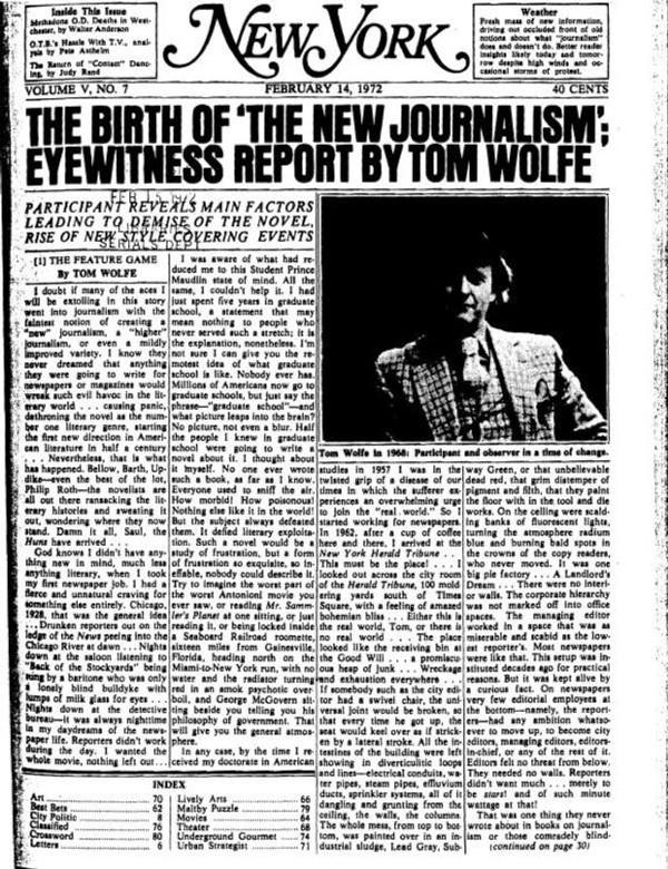 Artigo da New York Magazine sobre o nascimento do Novo Jornalismo