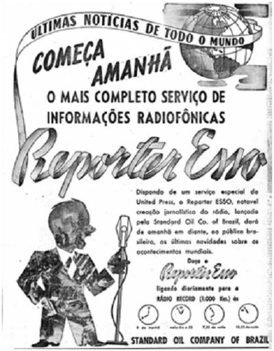 O jornal O Estado de  S. Paulo anunciou o primeiro programa do Repórter Esso no Brasil