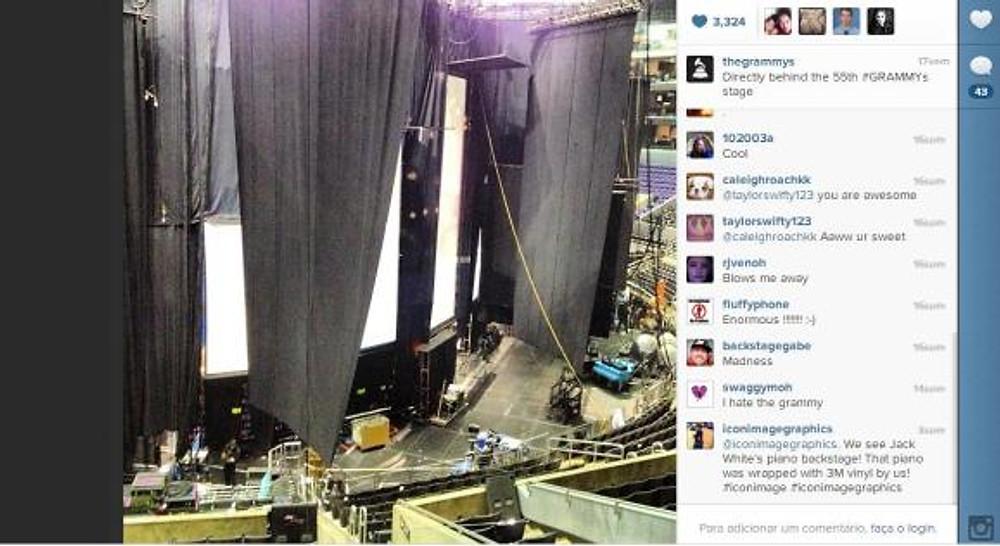 Legenda: Montagem do palco principal do 55º Grammy (http://instagram.com/thegrammys)