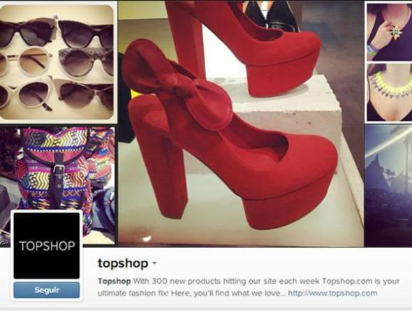 A Top Shop (http://instagram.com/topshop) apresenta imagens de acessórios, fotos e decoração.