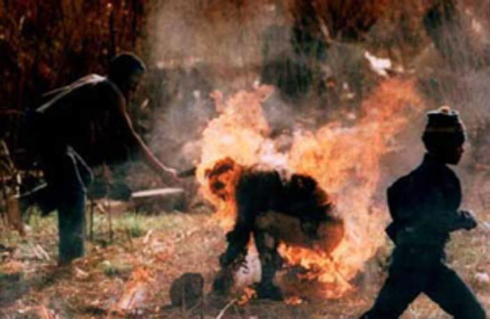 Foto de um inkatha queimado vivo. Rendeu um Pulitzer a Greg Marinovich