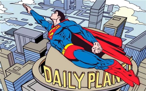 """O Super- Homem e, ao fundo, o """"Daily Planet"""", jornal onde trabalha Clark Kent"""