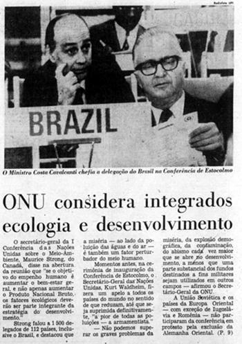 Cobertura do Jornal do Brasil sobre a Conferência de Estocolmo