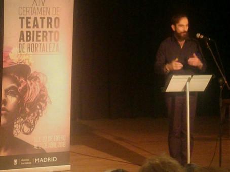 Javier Peña, Actor presenta el XIV Certamen de Teatro Abierto de Hortaleza.