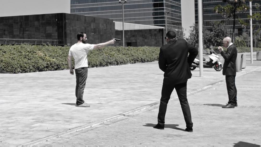 """Javier Peña, Actor, durante el rodaje del cortometraje """"Sólo unos datos"""""""