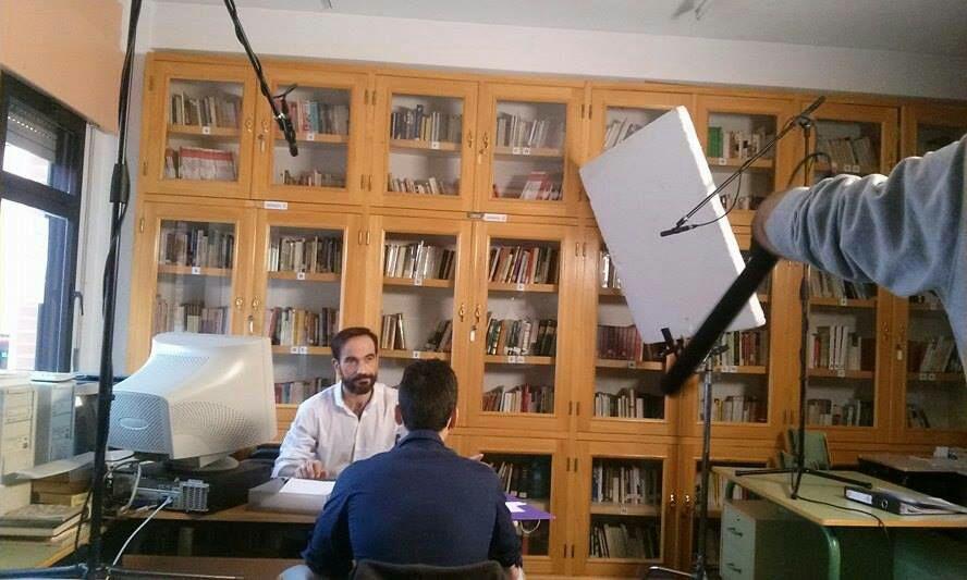 """Javier Peña, Actor y Aitor Sánchez en otro momento de su intervención en """"Proyect Inside""""."""