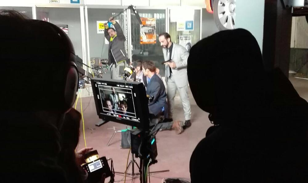 Javier Peña, Actor durante el rodaje, con Fabián Alen y Raúl Insa.