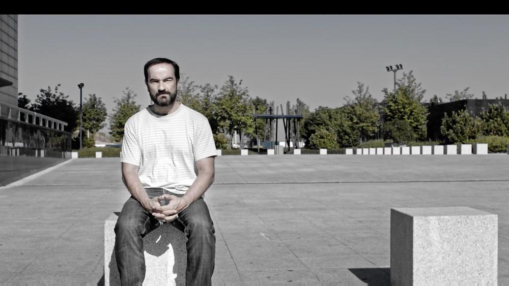 """Javier Peña, Actor, durante el rodaje del cortometraje """"Sólo unos datos""""."""