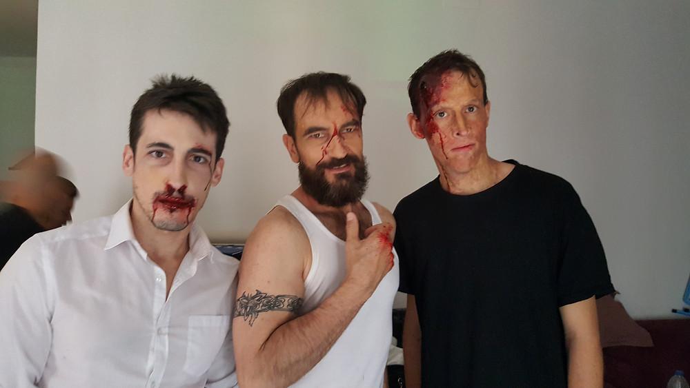 Javier Peña, Actor junto con algunos actores del reparto, entre ellos Aitor Sánchez.