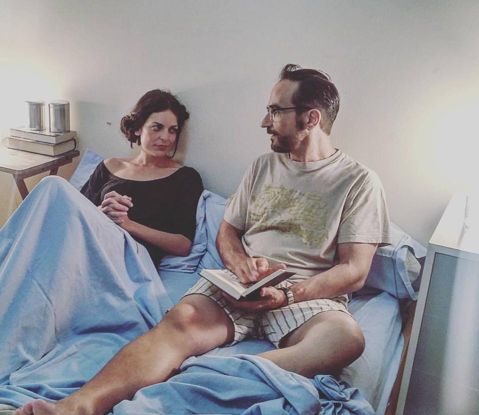 Javier Peña, Actor junto a su compañera de rodaje la actriz Patricia Fuertes.