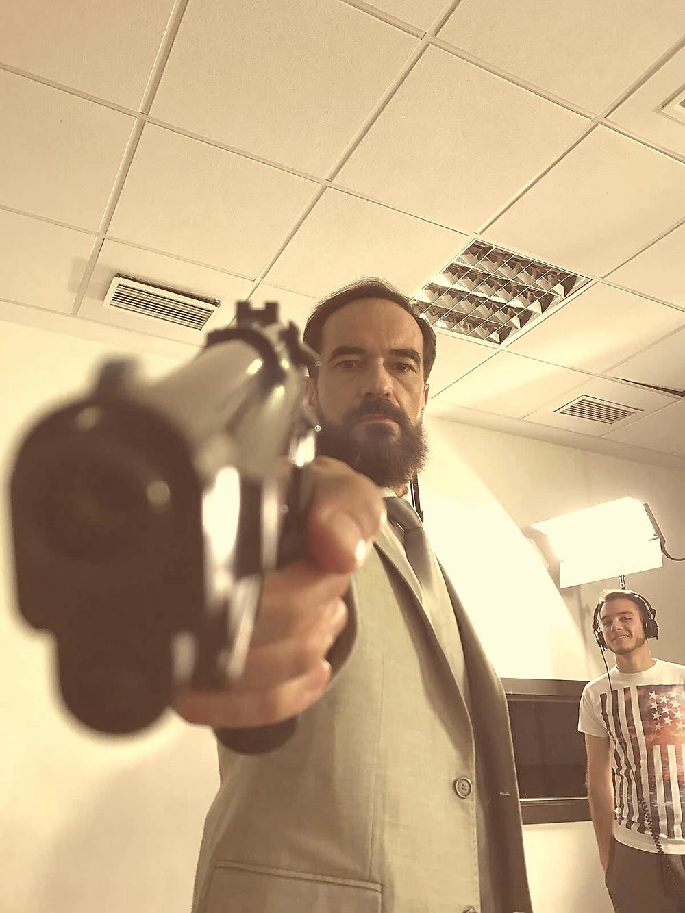 """Javier Peña, Actor en un momento del rodaje de """"Condena""""."""