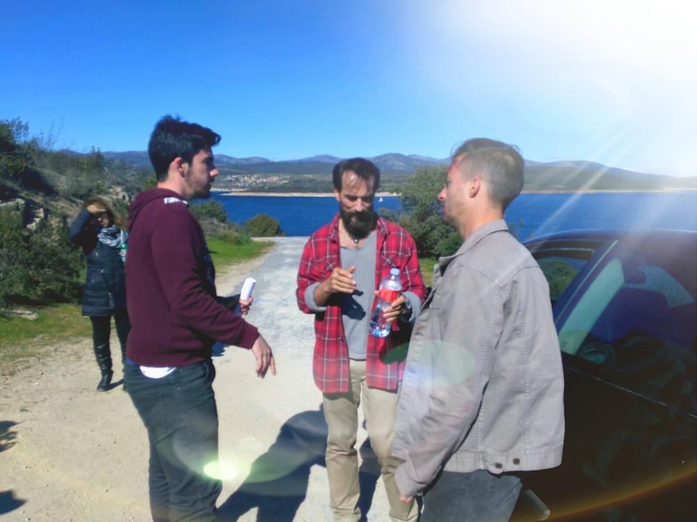 Javier Peña, Actor y Pedro Rudolphi recibiendo instrucciones del Director Carlos Esteban.