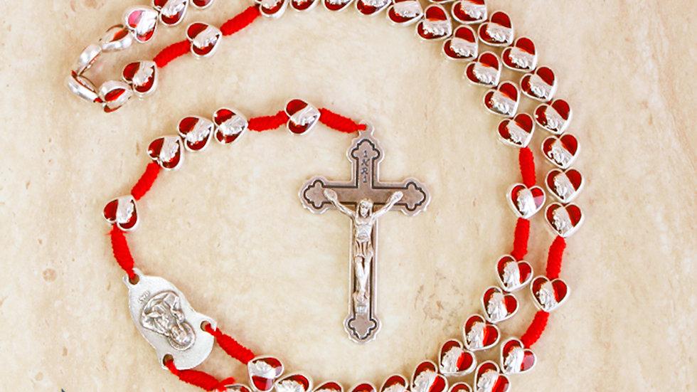 Rosario Virgen Medjugorje Corazones Plateados