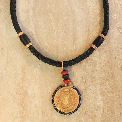 Collar Negro trenzado de la Virgen de Guadalupe con Cristales