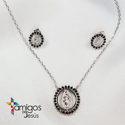 Conjunto de la Virgen de Guadalupe con Cristales Negros