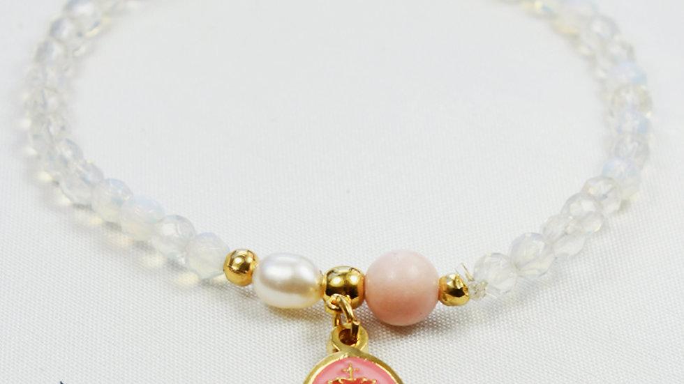 Pulsera Sag. Corazón de Jesús con Cristales Transparentes y Dije Rosado