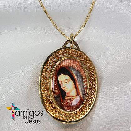 Collar Virgen de Guadalupe con Flores Artesanales