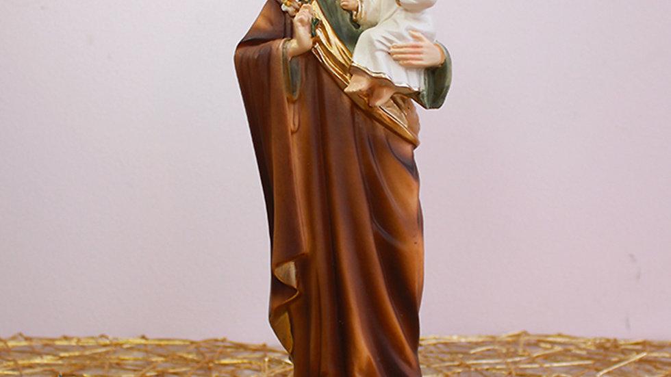 Figura de San José con Niño Manto Café