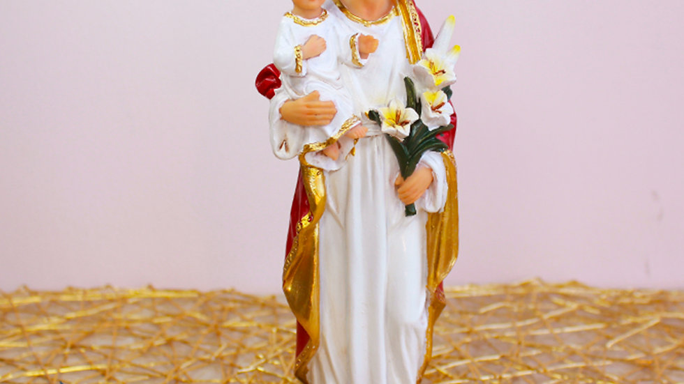 Figura de San José con Jesús en Brazos Manto Rojo