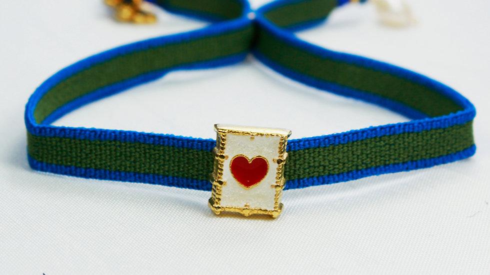 Pulsera Sag. Corazón de Jesús de Listón de Cinta con Medalla Chapada en Oro