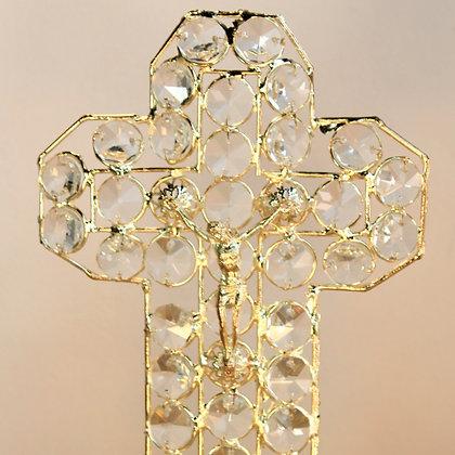 Cruz Cuerpo de Cristo Dorada con Cristalería