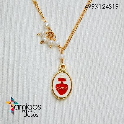 Collar del Sag. Corazón de Jesús con Ramo de Cuentas Blancas