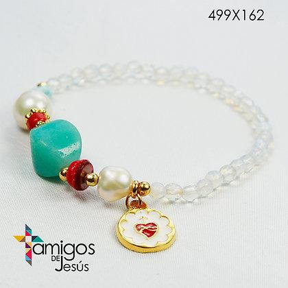 ´Pulsera Sag. Corazón de Jesús Cristal Transparente con Piedra Turquesa