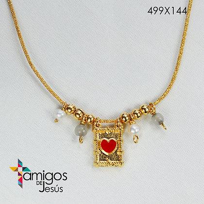 Collar del Sag. Corazón de Jesús en Cordel Dorado