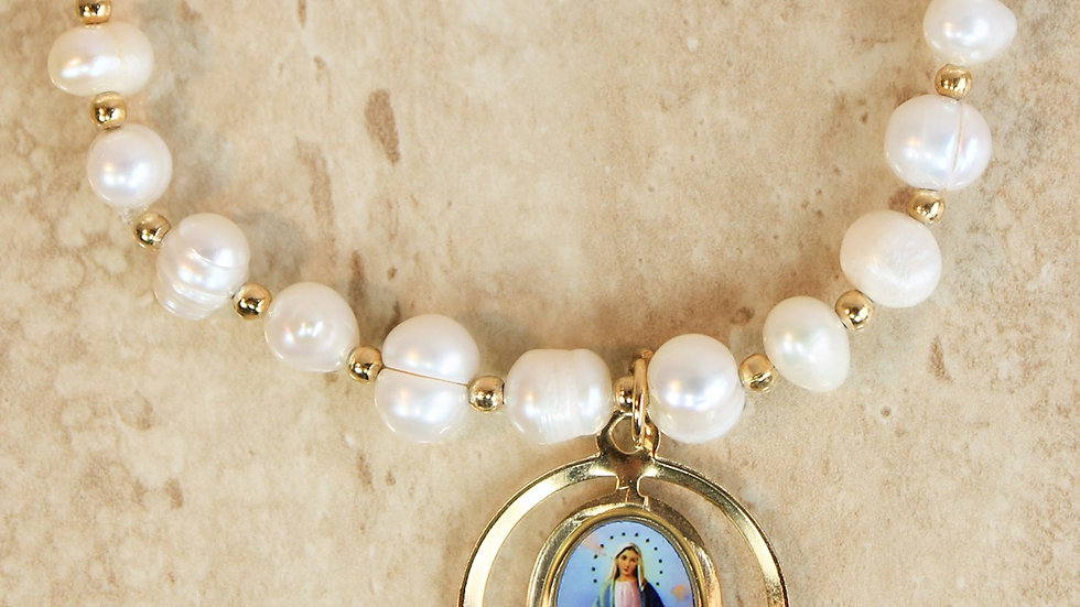 Virgen Milagrosa - Pulsera Concha Nácar