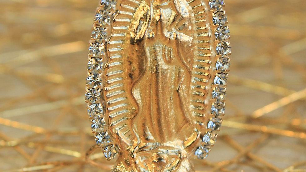 Virgen de Guadalupe Dorada con Imitación de Diamante en Resplandor
