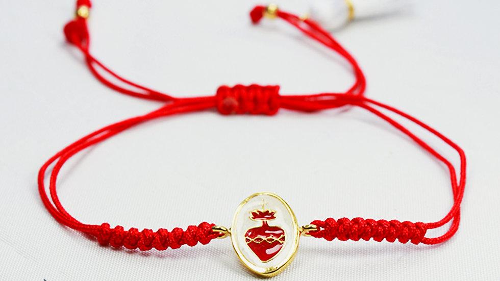 Pulsera Sag. Corazón de Jesús de Hilo Rojo con Dije Blanco y Motita